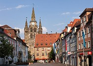 Martin-Luther-Platz square, City Hall, Church of St. Gumbertus, Ansbach, Middle Franconia, Franken, Bavaria, Germany, Europe