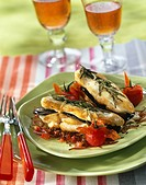 Chicken breast,eggplant and rosemary sandwich