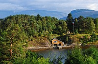 Cabin by the fjord, Telemark, Norway, Scandinavia, Europe