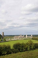 Monastery ruins at Clonmacnoise on the Shannon, Midlands, Republic of Ireland, Europe