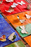 Hand coloured, cut-out butterflies created by children for a class project  South Africa