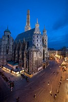 Exterior night view of Saint Stephen's Cathedral located at the popular Stephansplatz, Vienna, Austria