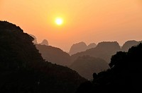 Sunset in the dry Halong Bay, Ninh Binh area, Vietnam, Southeast Asia