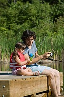 Father and daughter fishing from jetty (thumbnail)