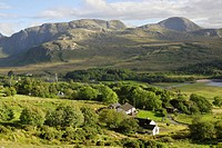 Valley with church ruins in the hills of Donegal at the Poisoned Lake, County Donegal, Republic of Ireland, Europe