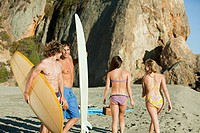 Surfers looking at girls on the beach