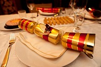 Xmas Cracker, A traditional British family christmas dinner at home, UK