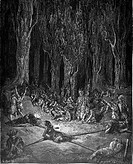 Gustave Doré, Chactas held captive by the Muscogulges and Siminoles from Chactas and Atala, a novella by François-René de Chateaubriand, Black and Whi...