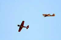 Two propeller_driven airplanes on clear sky background 2