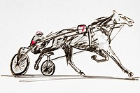 Trotting race, drawing, artist Gerhard Kraus, Kriftel