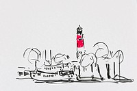 Lighthouse in the harbor, Buesum, Schleswig-Holstein, North Germany, drawing by artist Gerhard Kraus, Kriftel