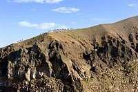 Morning mood with tourists on the summit Mt. Vesuvius, Campania, Italy, Europe