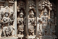 Images of deities on the wall of Kesava Temple, Keshava Temple, Hoysala style, Somnathpur, Somanathapura, Karnataka, South India, India, South Asia, A...