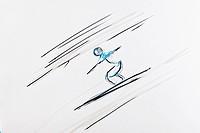 Drawing, ski jumping, artist Gerhard Kraus, Kriftel