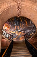 Stairs in Government Palace Morelia Mexico  Facing Mural by Alfredo Zalce of War of Independence in Mexico when Mexican Peasant, later known as the Tu...
