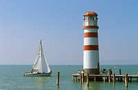 Lighthouse at Neusiedler See lake in Podersdorf , Burgenland Austria
