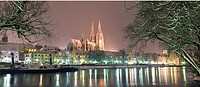 town view and danube river, regensburg, germany