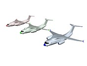 three colored RGB airplanes. 3d