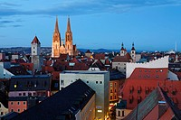 Cathedral, view from tower of Holy Trinity church, Regensburg, Upper Palatinate, Bavaria, Germany