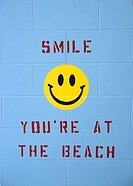 Smile your at the beach painted on a wall located in the New Hampshire USA
