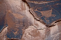 About 1500 year old wall paintings by Native Americans, Monument Valley, Arizona, USA