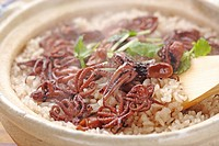Rice cooked with octopus