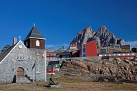 Uummannaq village with colourful houses and church in front of Heart Mountain, North_Greenland, Greenland