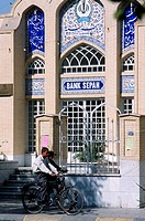Iran, Yazd, street scene, bank, people,