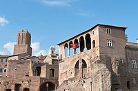 The loggia overlooking the Forum of Trajan belonging to the Houses of the Knights of Rodi Malta, Rome, Latium, Italy, Europe