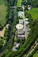 Aerial view, internal wastewater treatment plant of the Bayer Schering Pharma AG on Rutenbecker Weg street, Bayer Schering Pharma AG, a German pharmac...