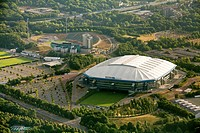Aerial view, Schalkearena stadium, Arena auf Schalke stadium, Veltins-Arena stadium, stadium of a German Bundesliga club, Buer district, Gelsenkirchen...