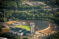 Aerial view, Buer district, Schalkearena stadium, Arena auf Schalke stadium, Veltins-Arena stadium, the former Parkstadion stadium being demolished, r...