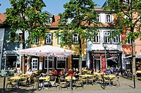 Street cafe with Born Mustard store and Mustard Museum on Wenigemarkt square, Erfurt, Thuringia, Germany, Europe