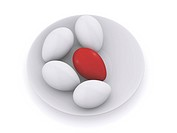 easter eggs on plate. 3d