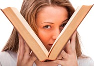 Beautiful blonde student woman with book