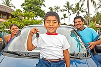 young mexican family with car