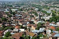 Historic town centre of Kala, Sioni Cathedral and priest seminar, Kura or Mtkvari River, Tbilisi, Georgia, Western Asia