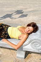Sunbathing in the town of Marsala Sicily Italy
