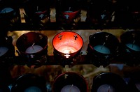 Close_up of votive candles in a catholic church