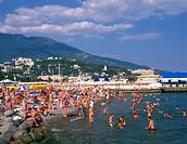 Ukraine, Krim, Strand bei Jalta