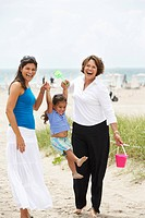 Hispanic grandmother, mother and daughter enjoying beach