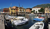 Harbour of Malcesine, Lake Garda, Veneto, Venetia, Italy, Europe