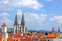 Regensburg, Unesco Welterbe, Stadtansicht, Dom St. Peter, Goldener Turm, St. Peters Cathedral, Golden Tower, Bayerische Eisenstrasse, Strasse der Kais...