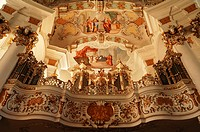 Wies Church, Rococo, built from 1745 to 1754, organ by Johann Georg Hoerterich in 1757, fresco on the ceiling above, Jesus and the Adulteress, and bel...