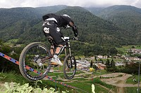 Mountain bike downhill racetrack at the lift station in Commezzadura, Dolomites, Alto Adige, Italy, Europe