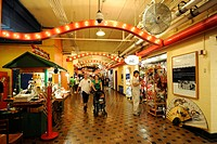 Interior view, shops, Navy Pier amusement center in Chicago, Illinois, United States of America, USA