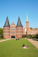 Holsten Gate, St. Peter's Church and Salzspeicher salt storehouses, Luebeck, Schleswig-Holstein, Germany, Europe