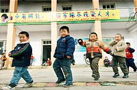 Chinese children boys in Kindergarten school in rural farm village town of Buyang near Jinan city in Shandong Province, China