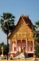 Laos, Vientiane, Wat That Luang Neua buddhist temple,