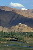 Northern India, Ladakh, Indus Valley. Thikse gompa monastery dating from 6th c. perched on rock outcrop